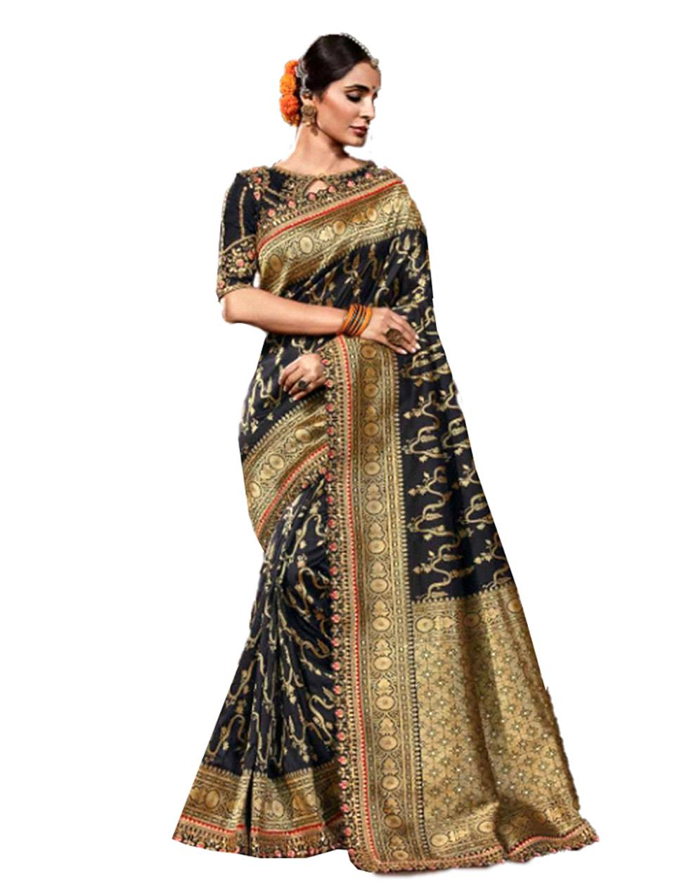 Black Silk Saree With Blouse SD23890