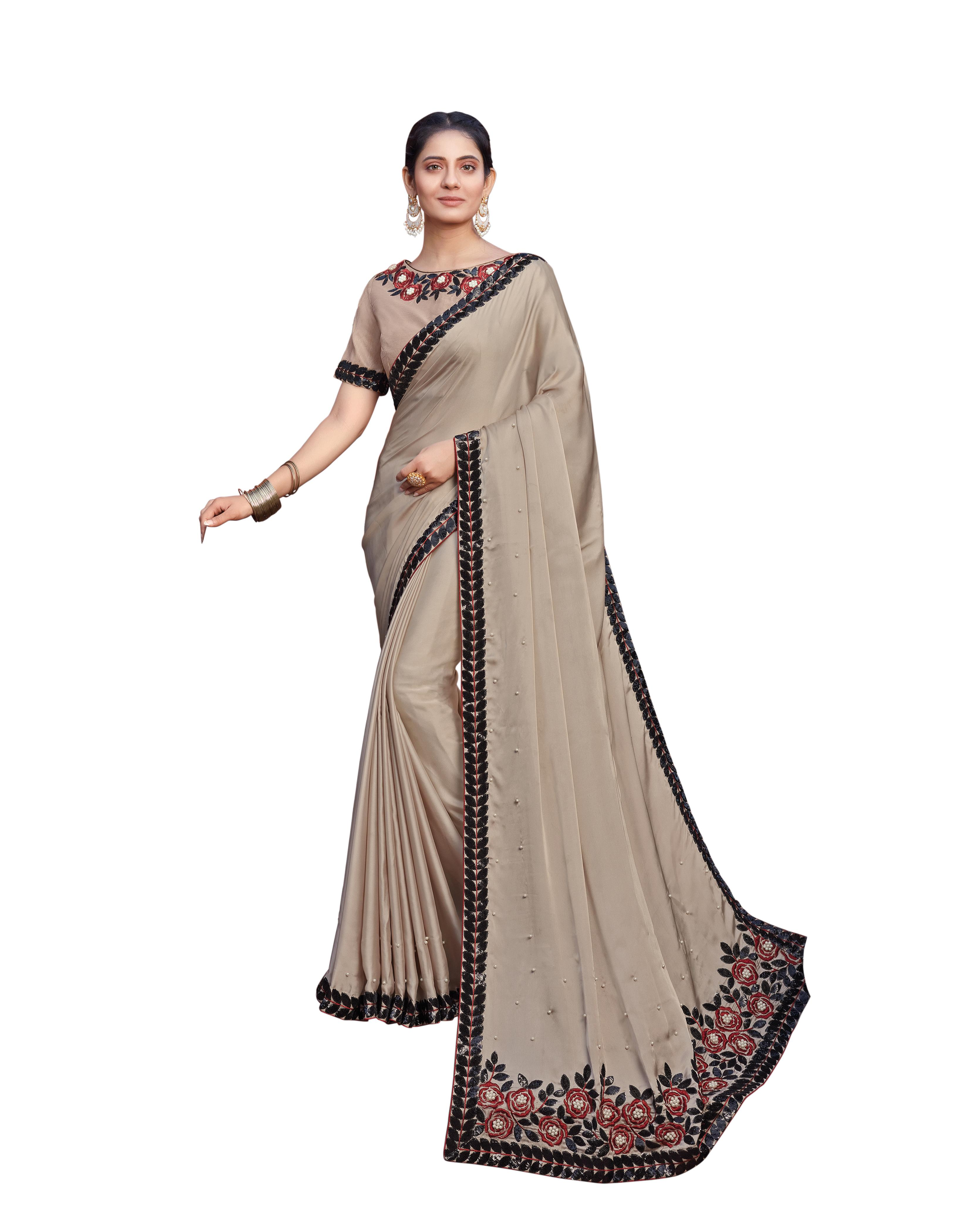 Beige Silk Georgette Saree With Blouse MH25046