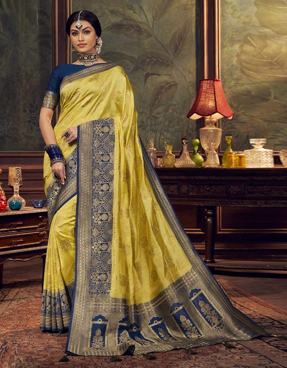 Yellow Dola Silk Saree With Blouse SD24053