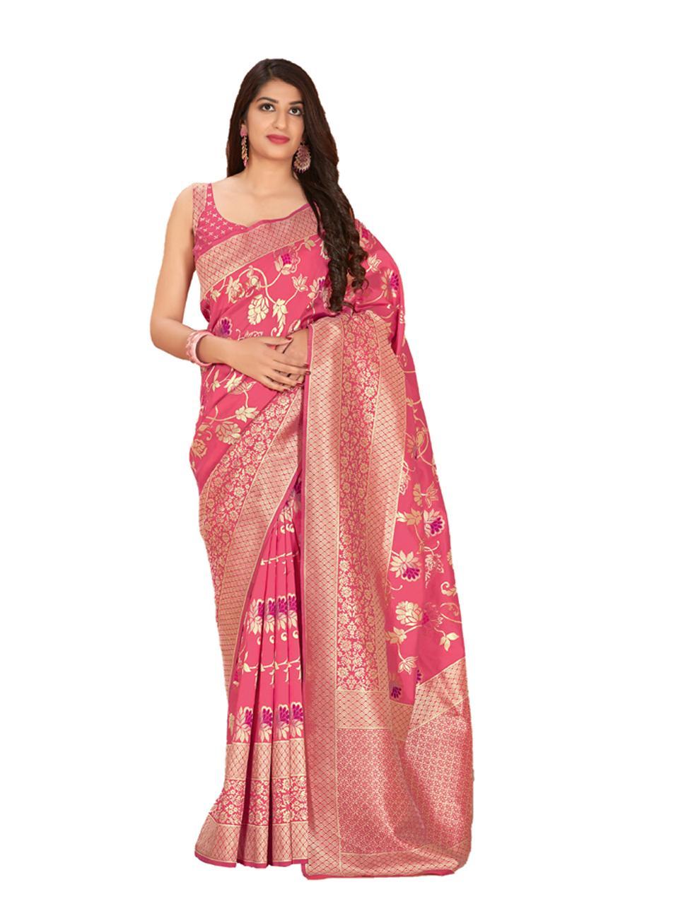Pink Silk Saree With Blouse SD23856