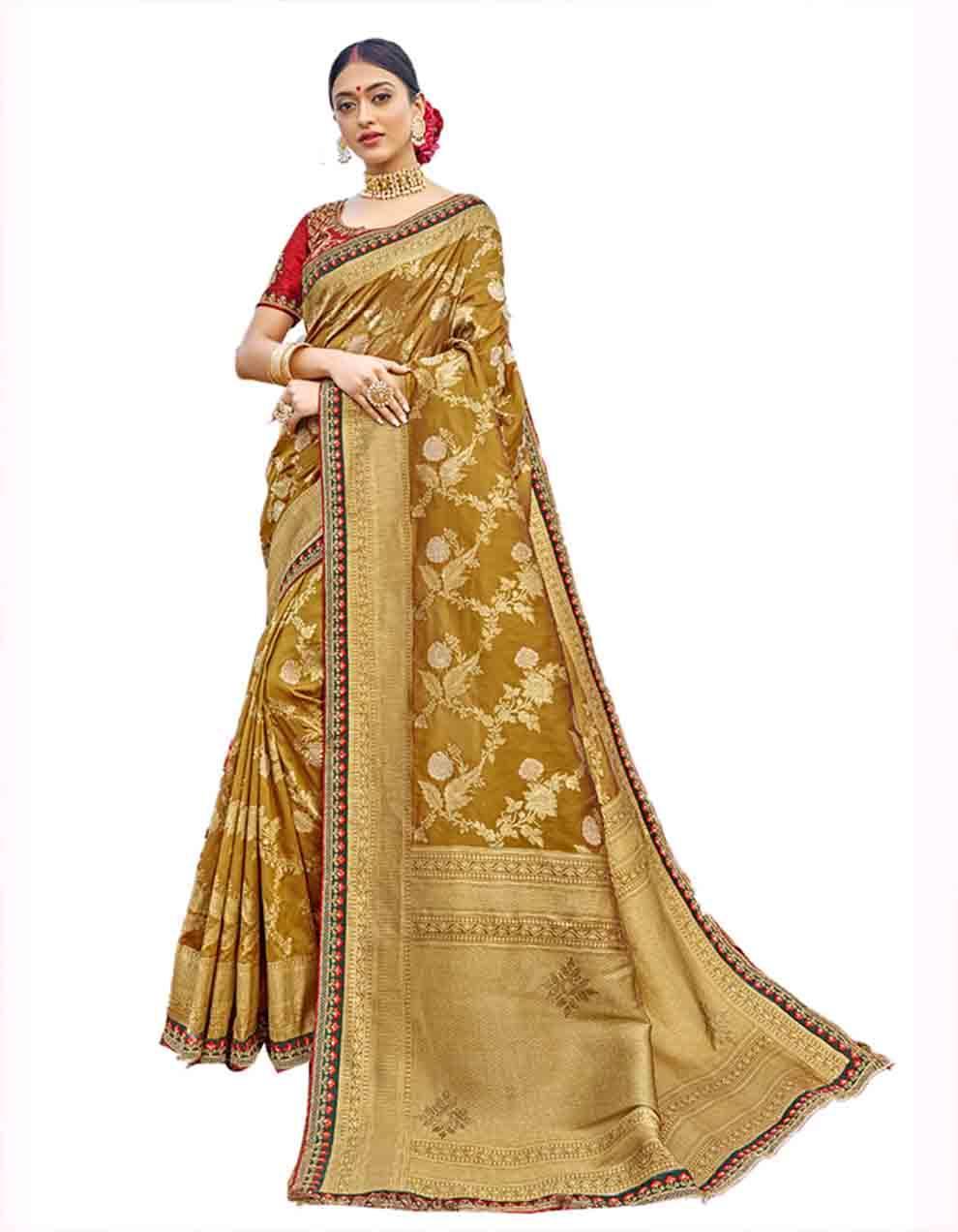 Yellow Silk Saree With Blouse SD23770