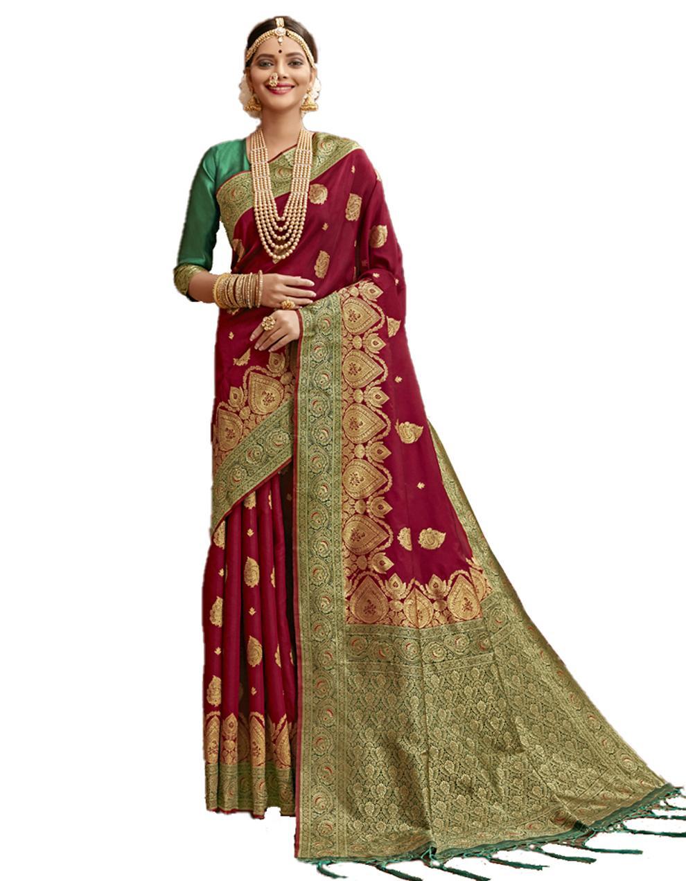 Maroon Banarasi Silk Saree With Blouse SD24224