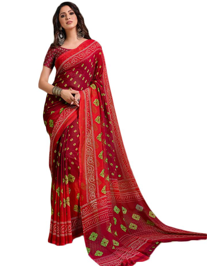 Maroon Georgette Saree With Blouse IW24636