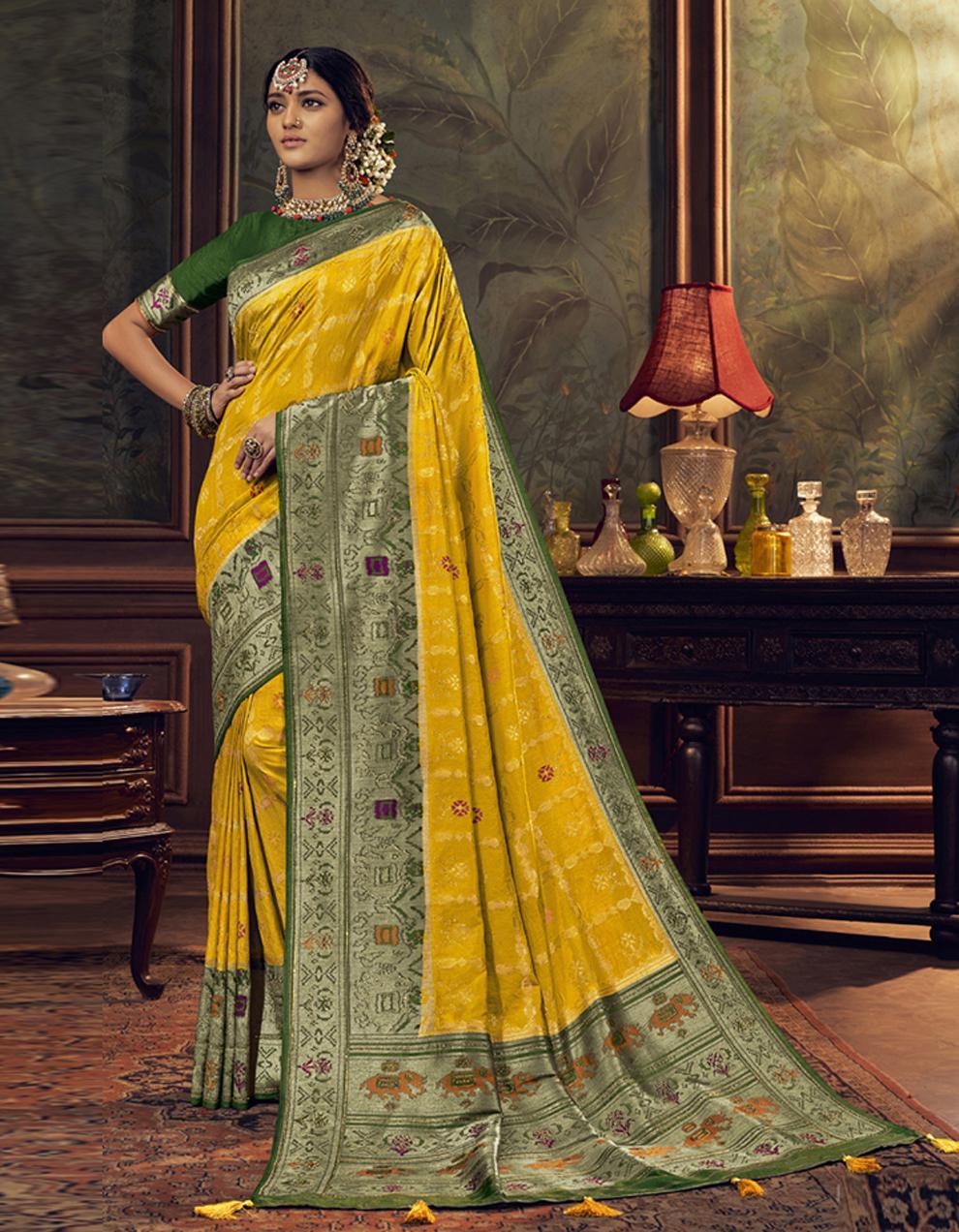 Yellow Dola Silk Saree With Blouse SD24047