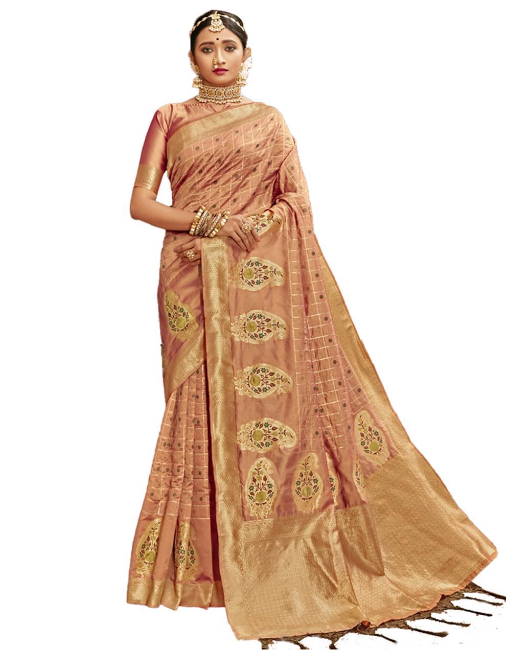 Peach Banarasi Silk Saree With Blouse SD24218