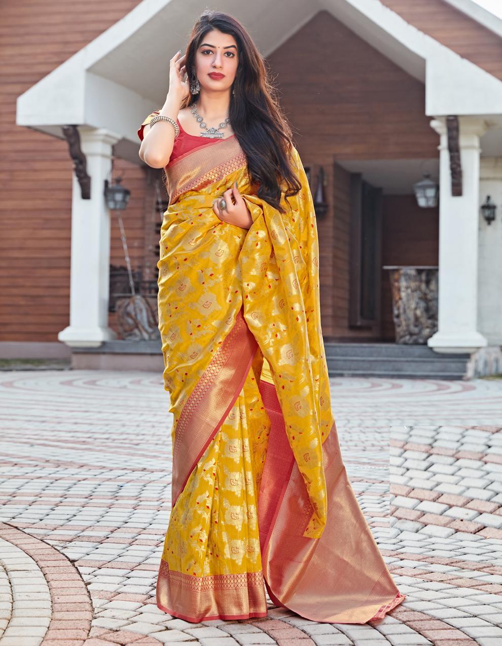 Yellow Silk Saree With Blouse SD25225