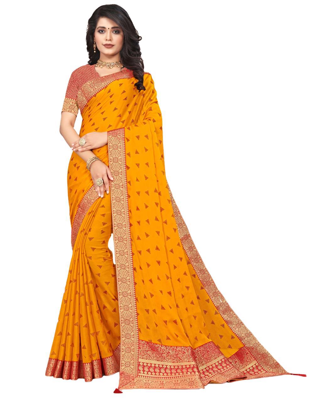 Yellow Vichitra silk Saree With Blouse IW24372