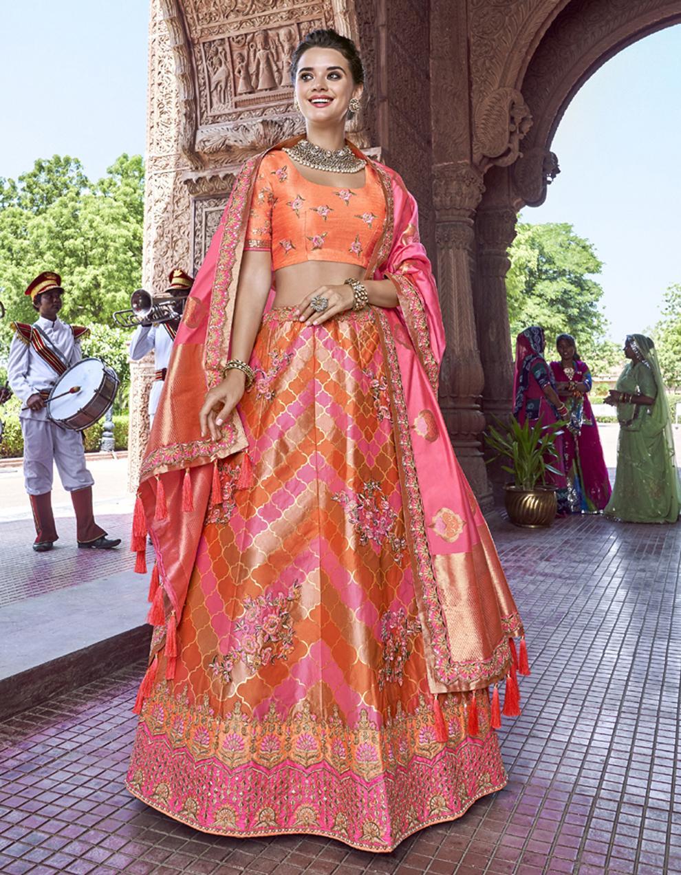 Banarasi Silk Multicolor Semi Stitched Lehenga with Choli And Dupatta LSD2794