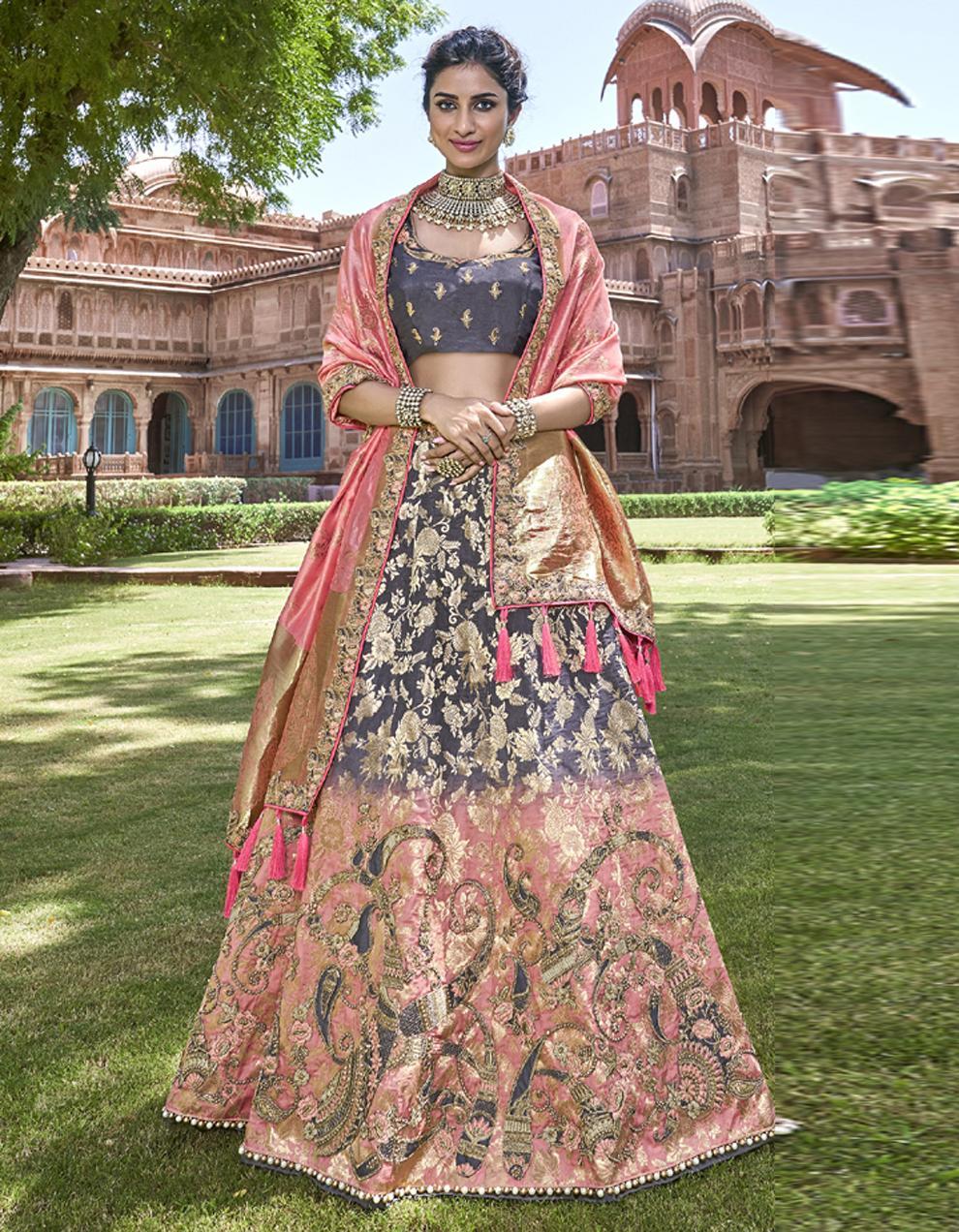 Banarasi Silk Multicolor Semi Stitched Lehenga with Choli And Dupatta LSD2787