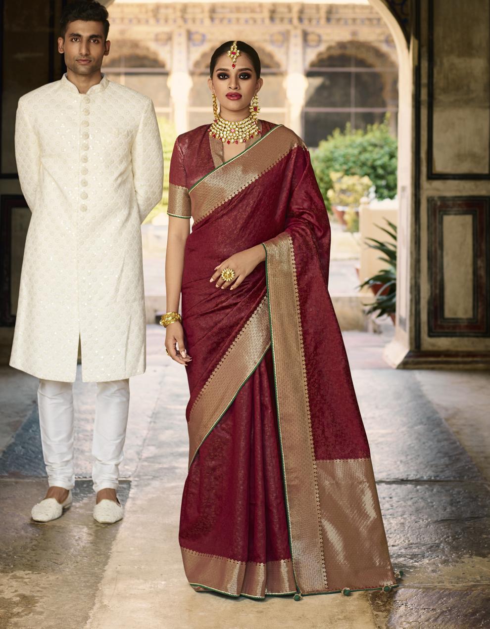 Maroon Jacquard Silk Saree With Blouse SD25279