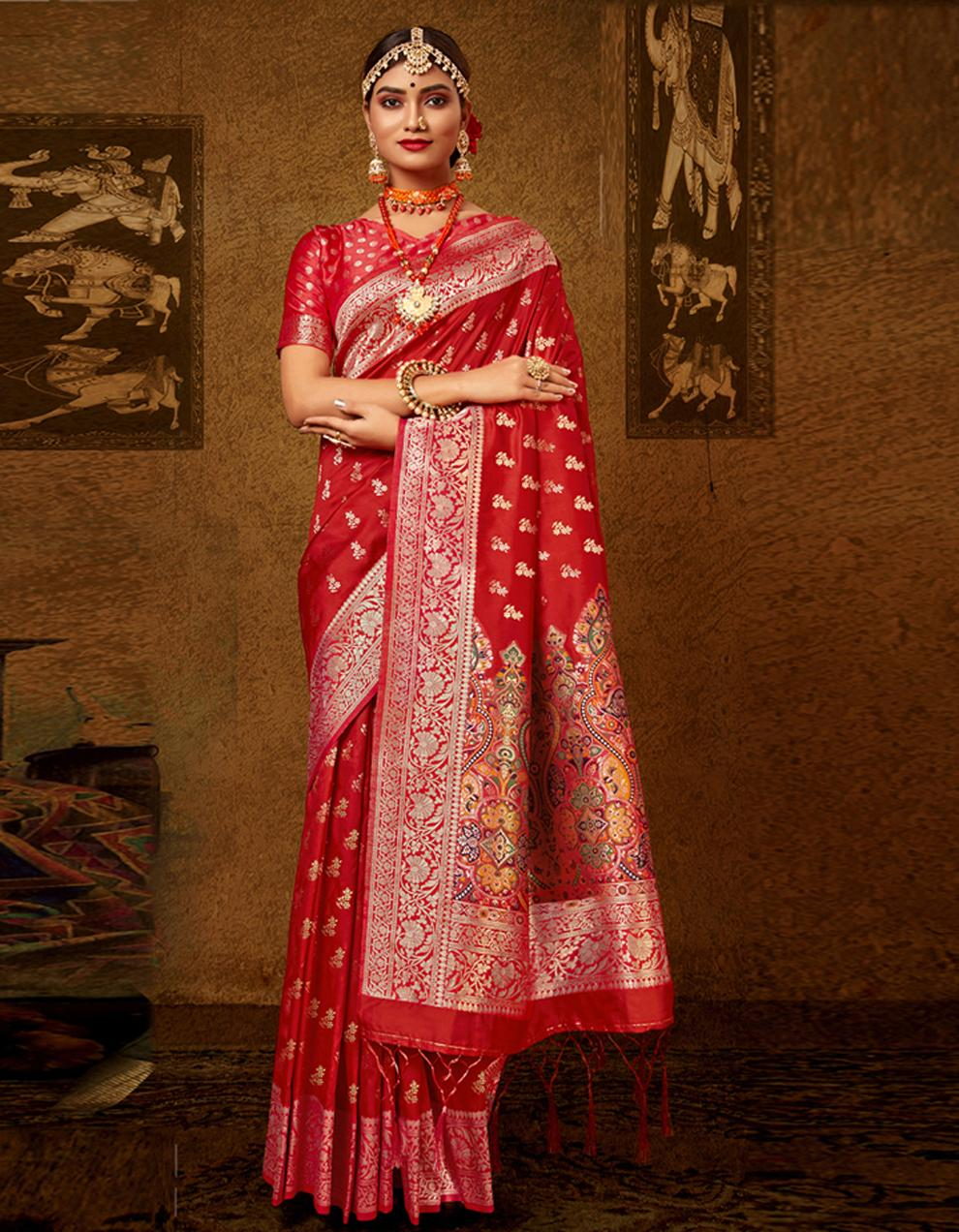 Red Lichi Silk Saree With Blouse SD24098