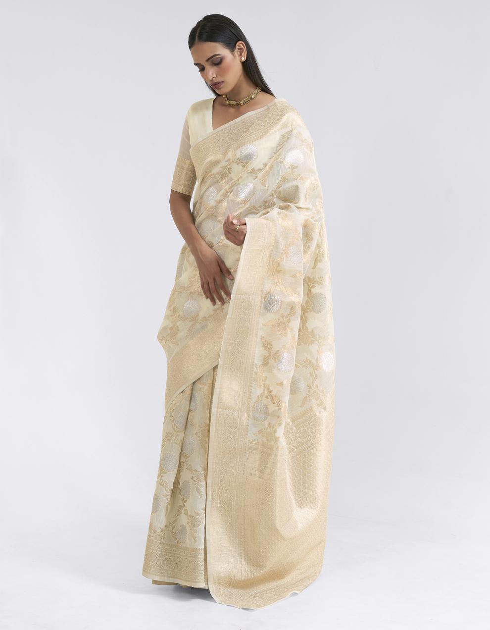 Cream Linen Saree With Blouse SD25177