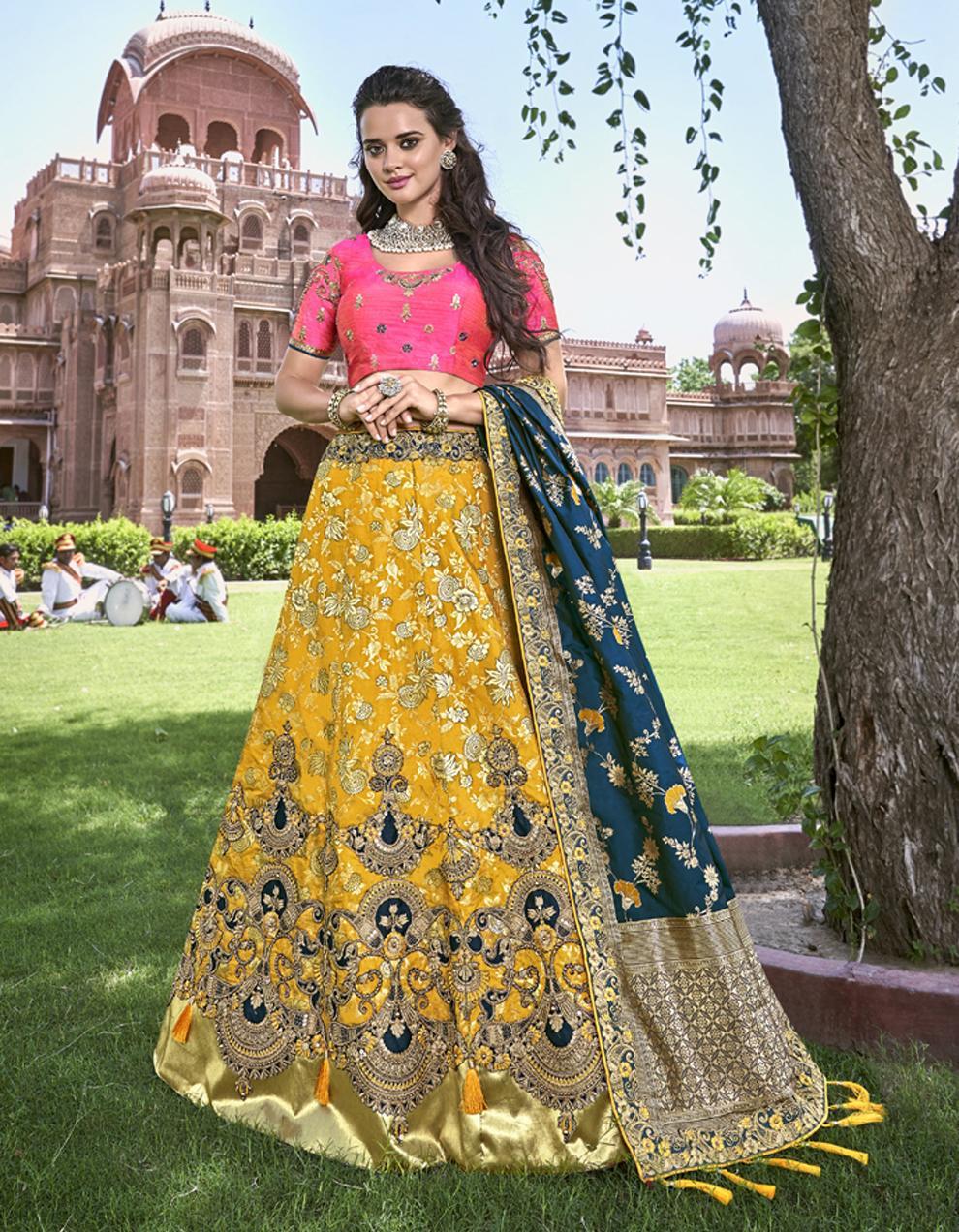Banarasi Silk Yellow Semi Stitched Lehenga with Choli And Dupatta LSD2783