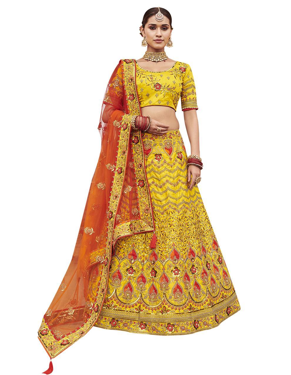 Silk Yellow Semi Stitched Lehenga with Choli And Dupatta LSD2802