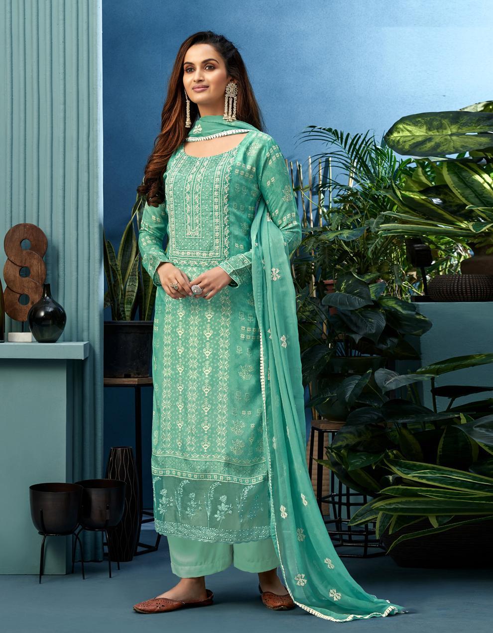 Green Pure Muslin Straight Suit SHL8571