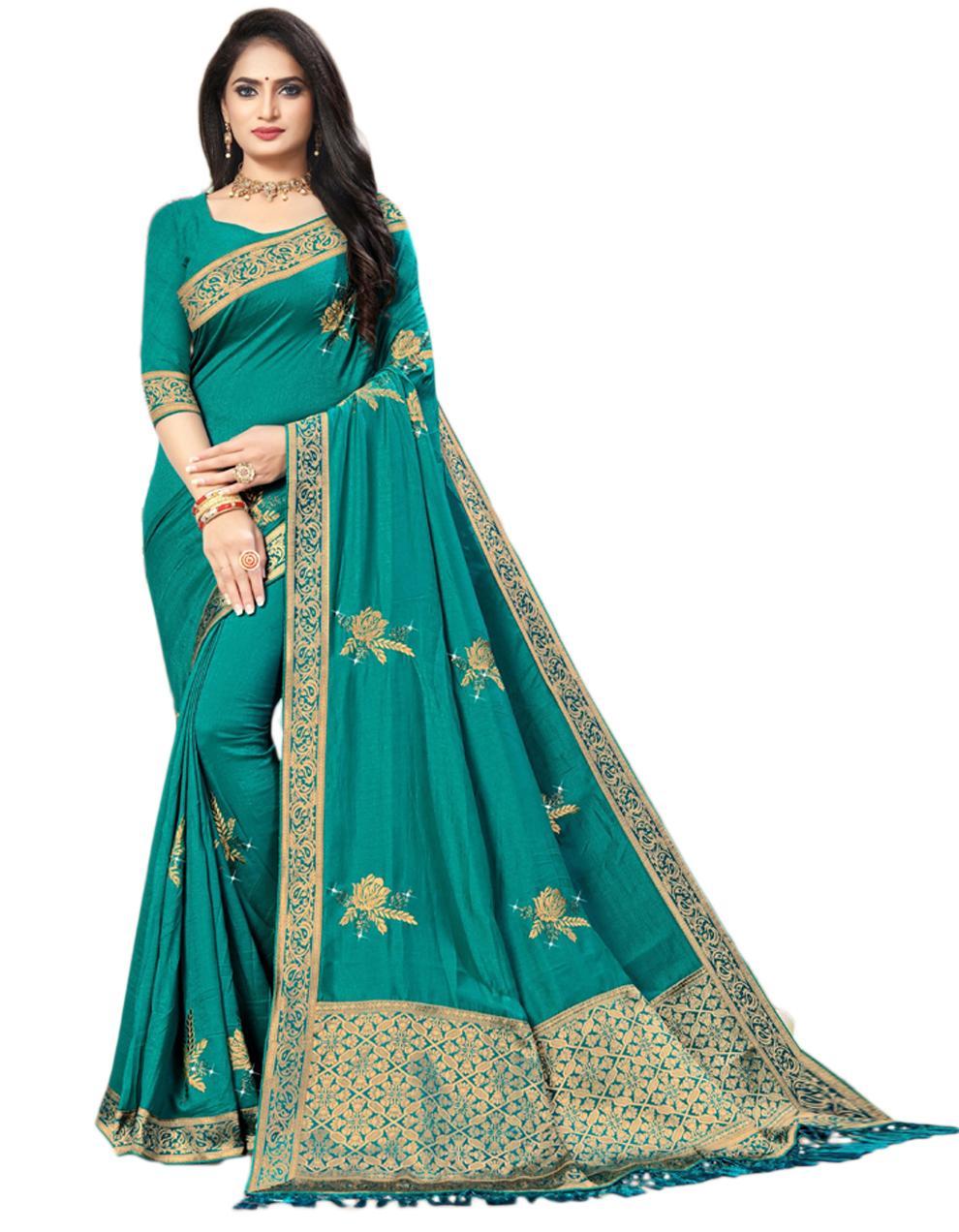 Green Vichitra silk Saree With Blouse IW24350