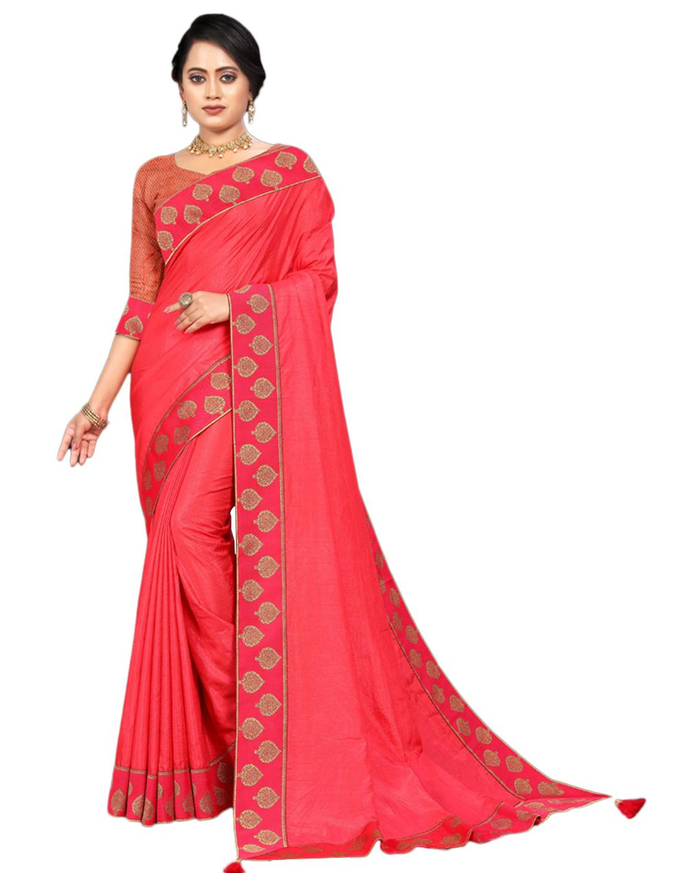Pink Vichitra silk Saree With Blouse IW24557
