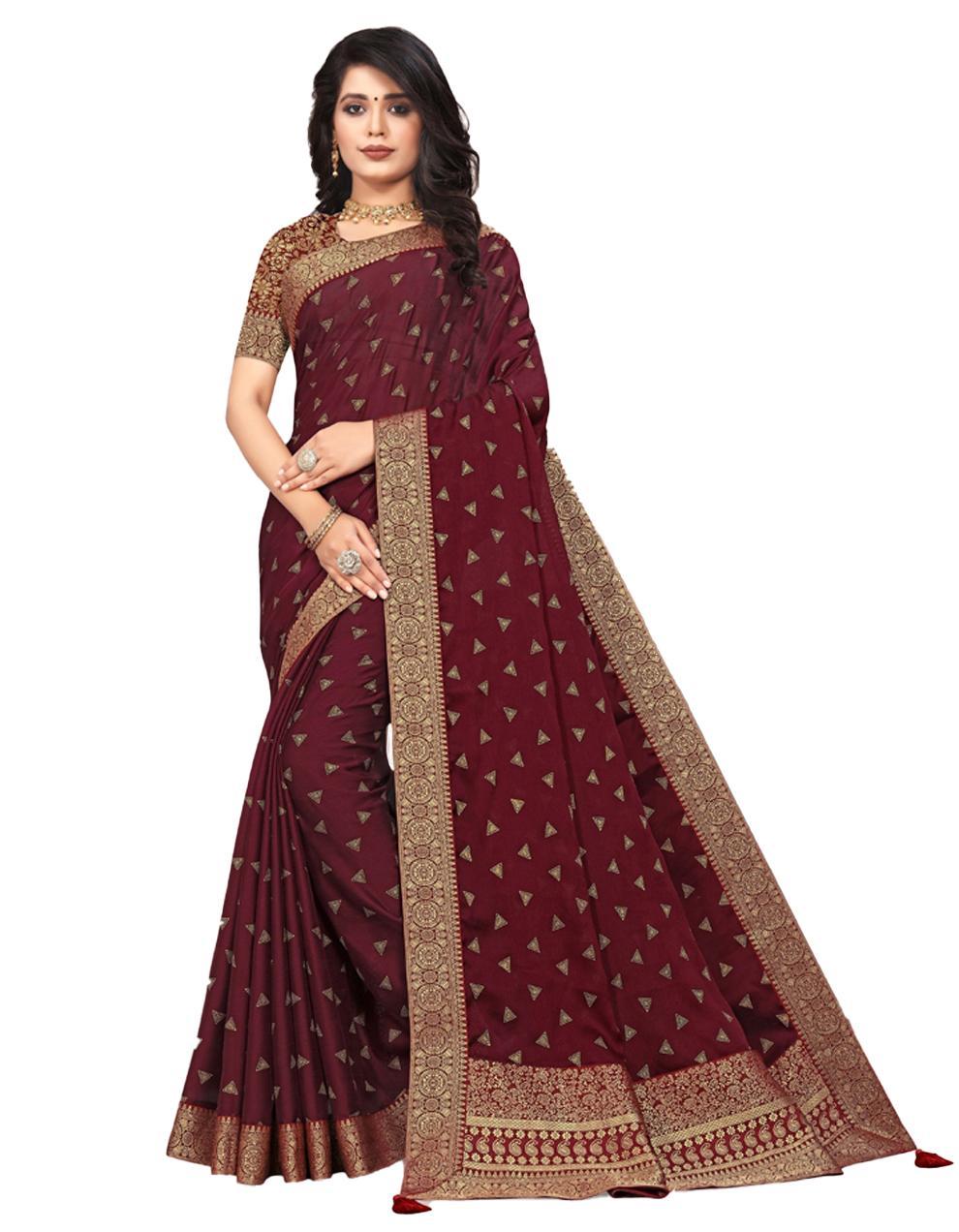 Maroon Vichitra silk Saree With Blouse IW24375