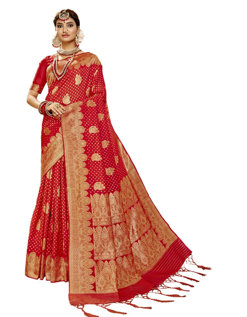 Red Banarasi Silk Saree With Blouse SD24184