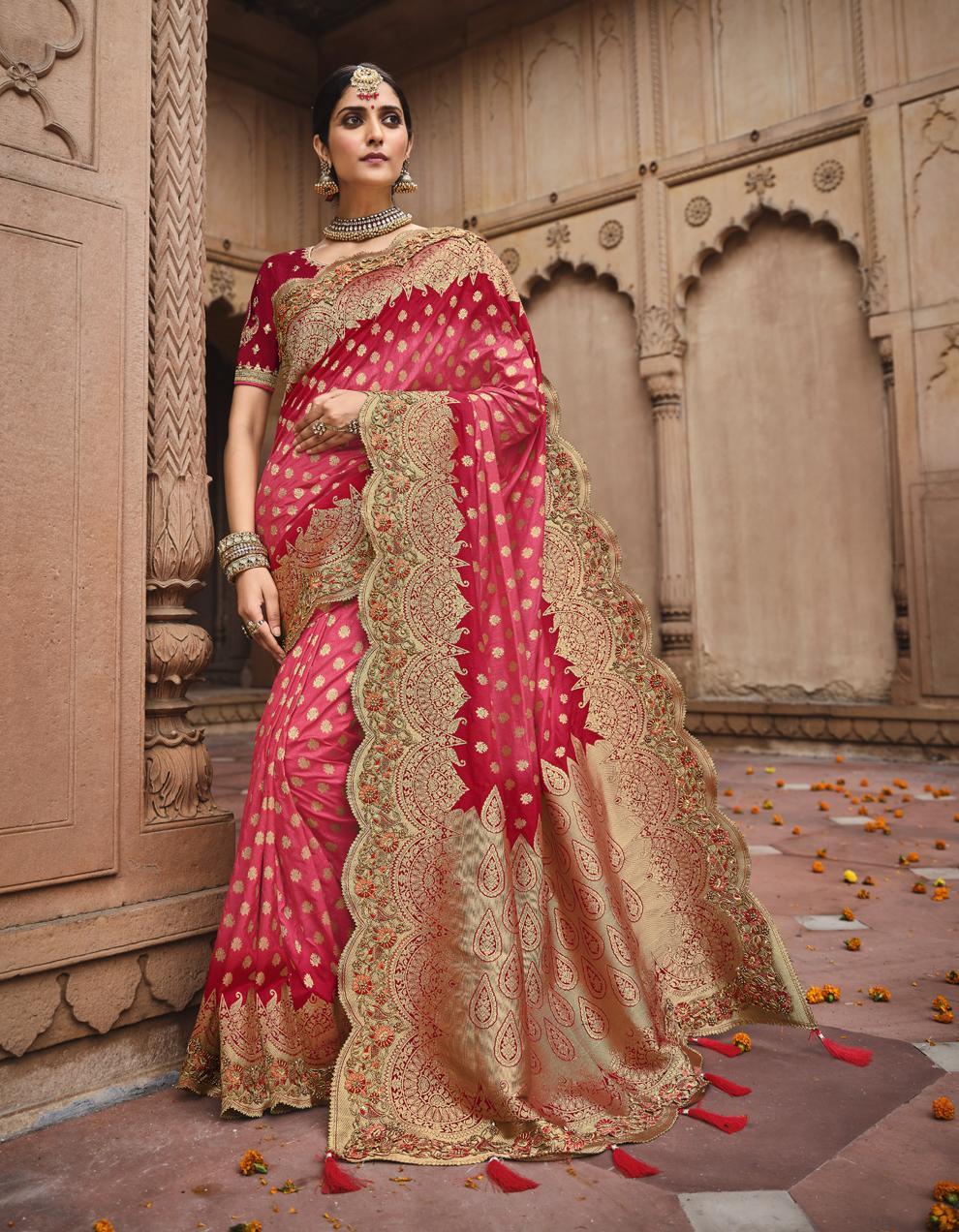 Multicolor Dola Silk Saree With Blouse SD25187