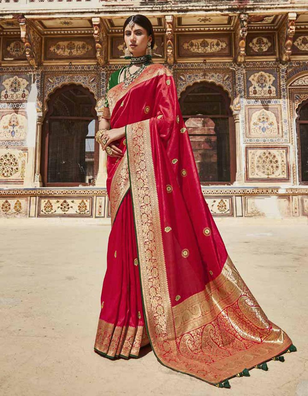 Red Silk Saree With Blouse SD25139