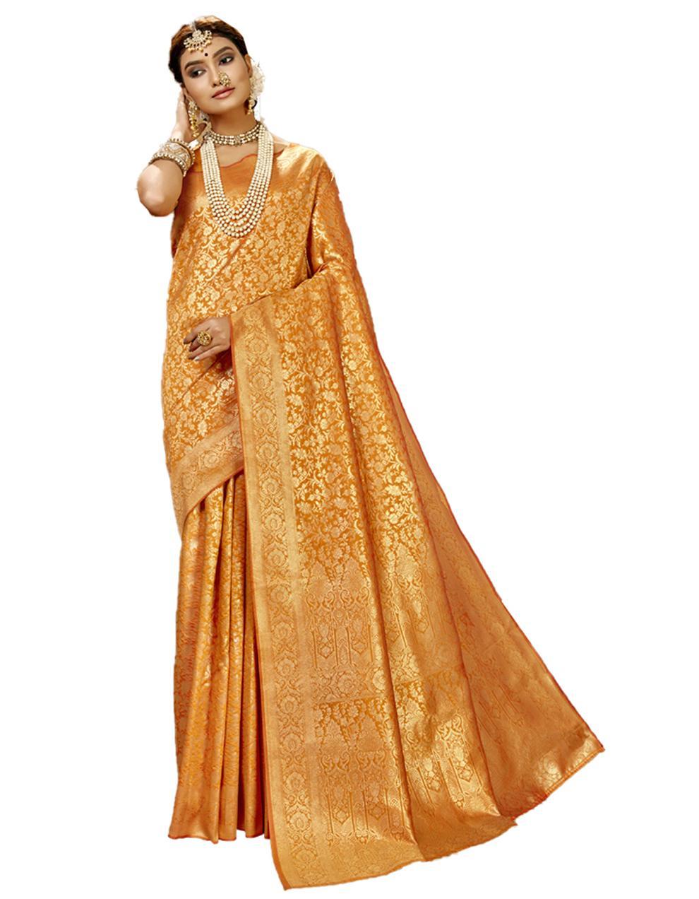 Yellow Banarasi Silk Saree With Blouse SD24179
