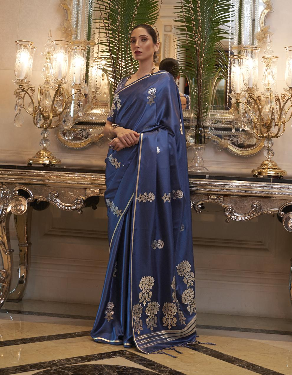 Blue Pure Satin Silk Saree With Blouse SD25261