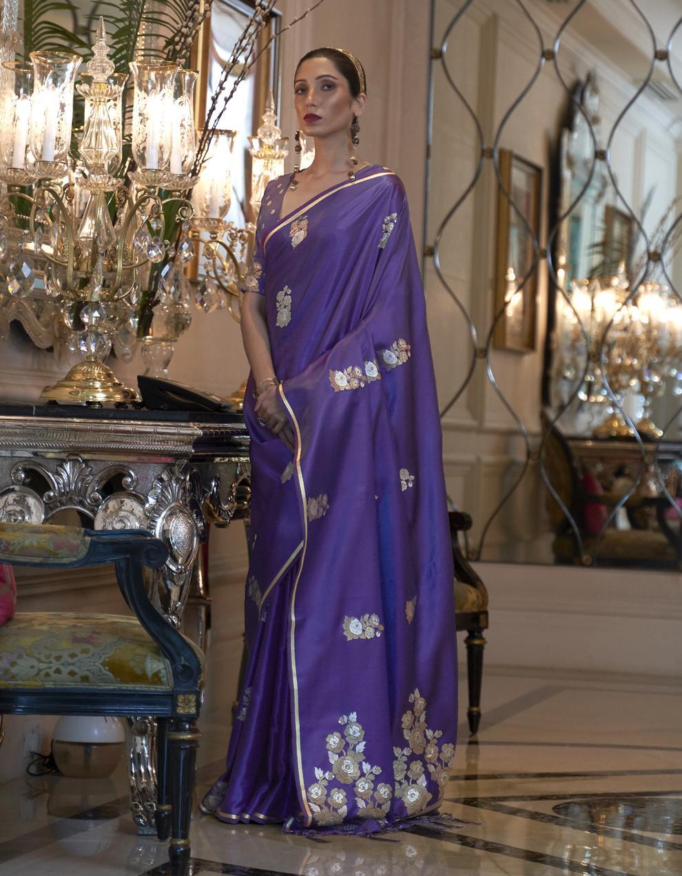 Purple Pure Satin Silk Saree With Blouse SD25257