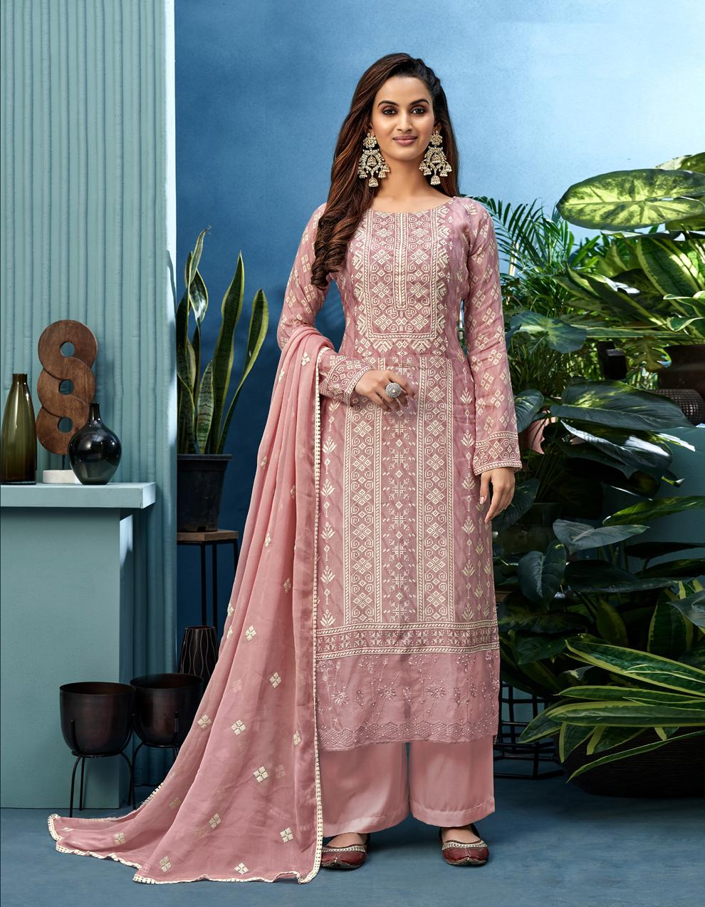 Pink Pure Muslin Straight Suit SHL8567