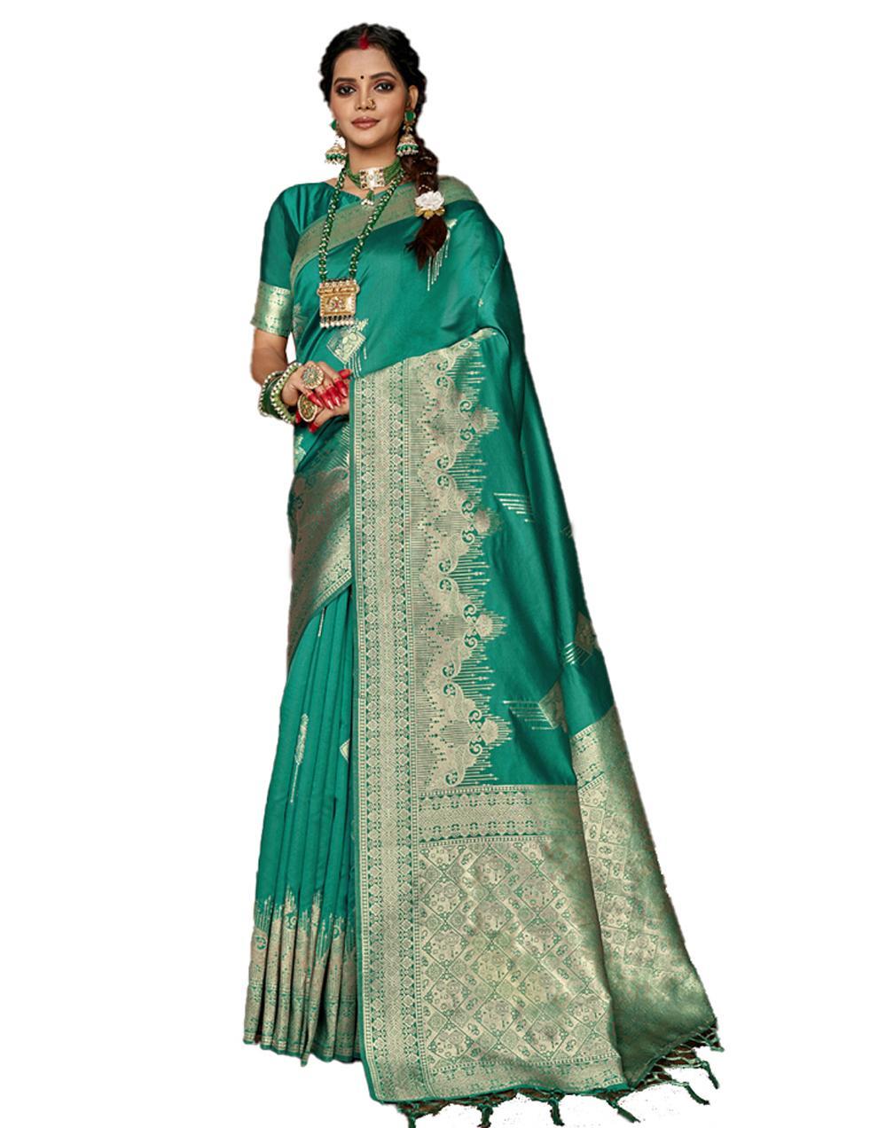 Green Banarasi Silk Saree With Blouse SD24160