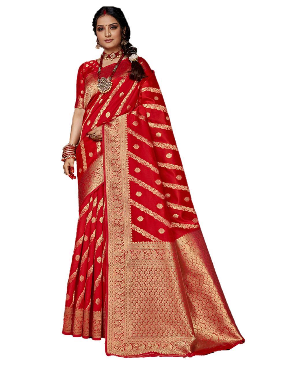 Red Banarasi Silk Saree With Blouse SD24149