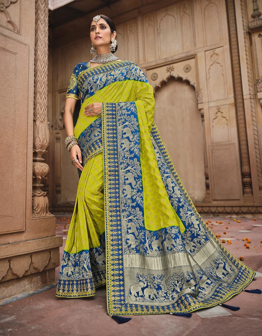 Multicolor Dola Silk Saree With Blouse SD25186