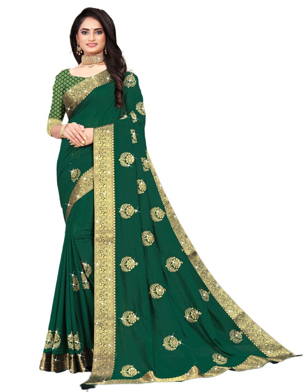 Green Vichitra silk Saree With Blouse IW24392