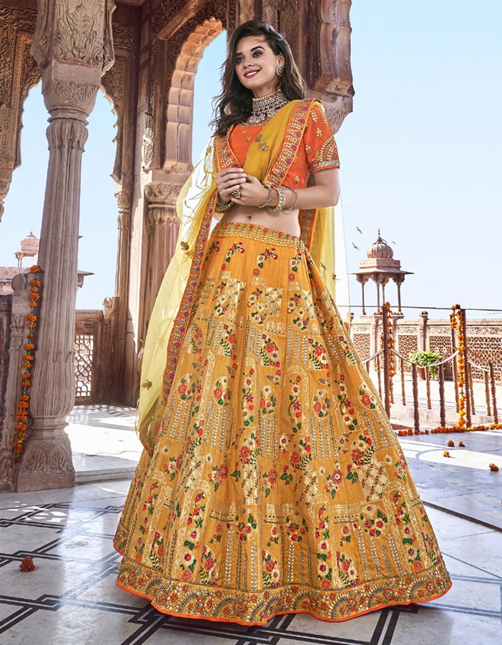 Banarasi Silk Yellow Semi Stitched Lehenga with Choli And Dupatta LSD2791