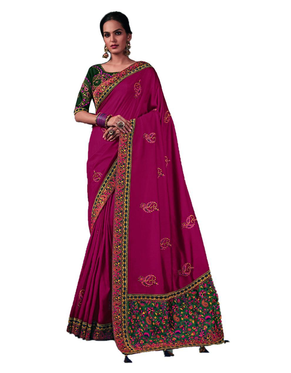 Rani pink Silk Saree With Blouse SD24196