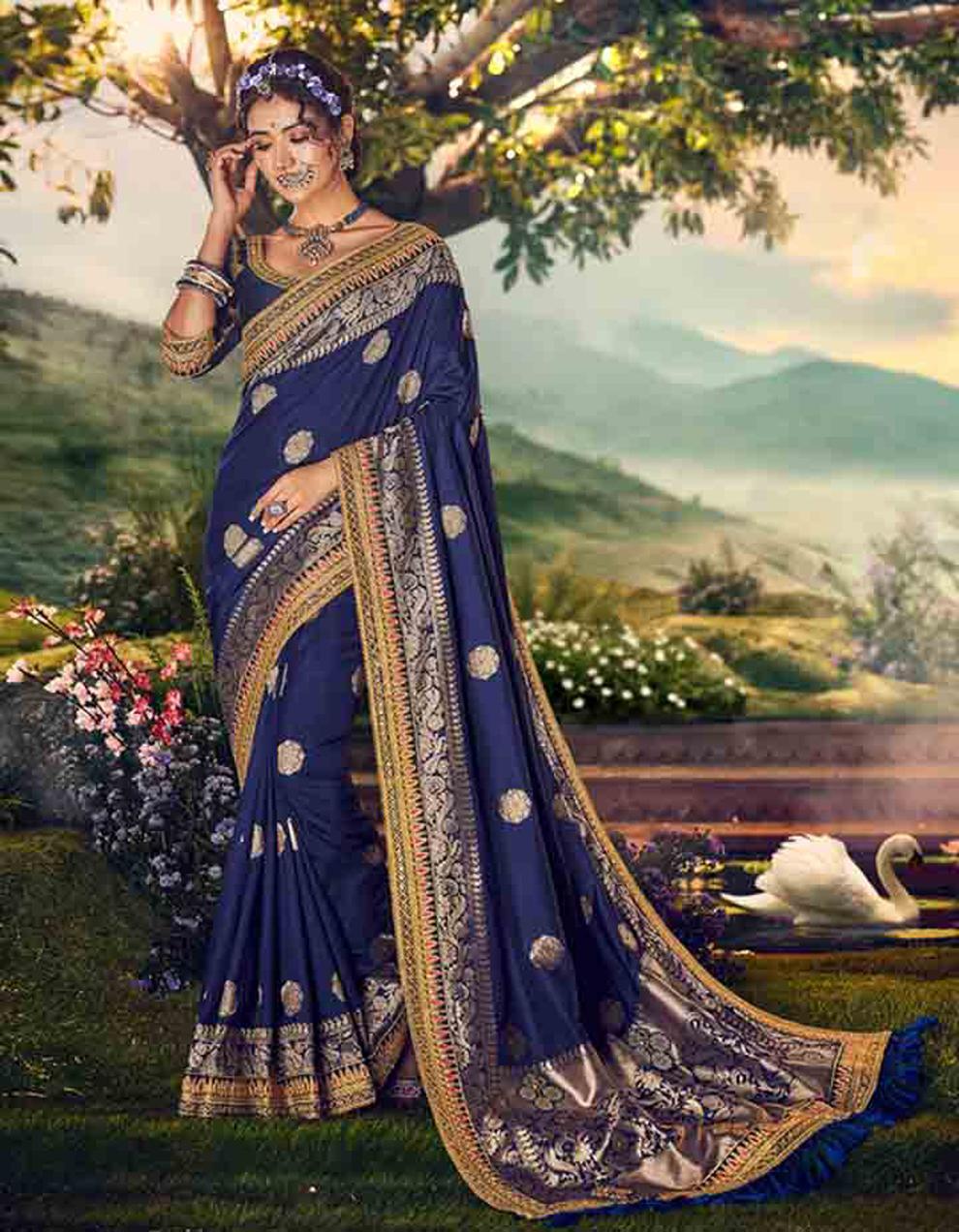 Navy Blue Banarasi silk Saree With Blouse SD23877
