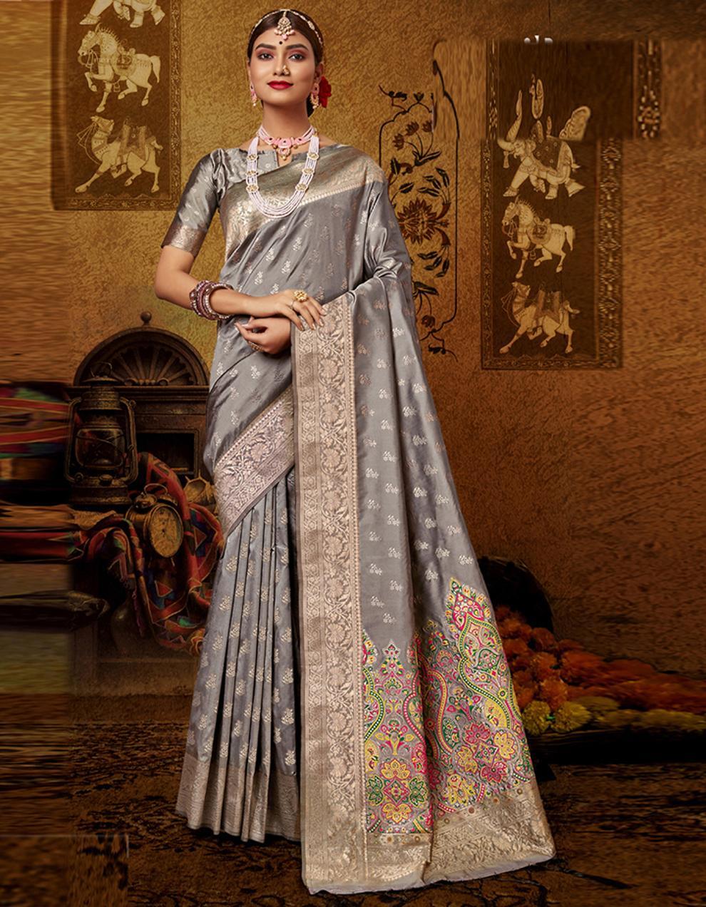 Grey Lichi Silk Saree With Blouse SD24101