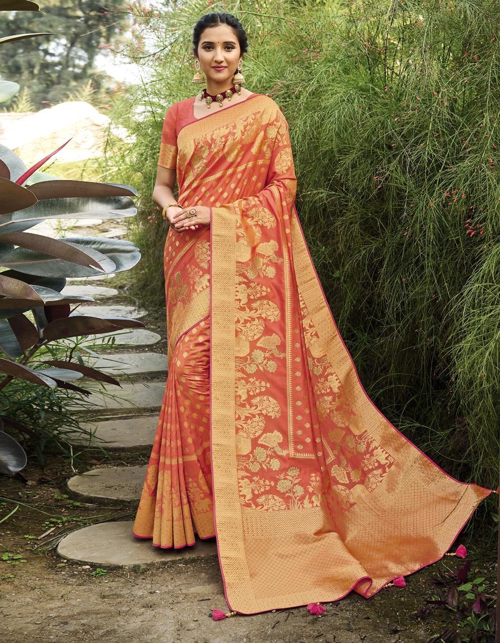 Peach Banarasi Silk Saree With Blouse SD25236