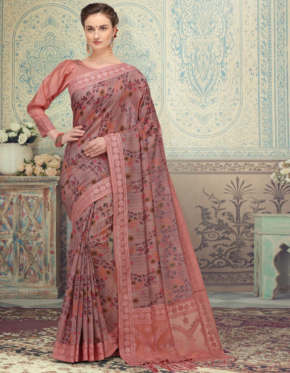 Pink Silk Saree With Blouse SD25201