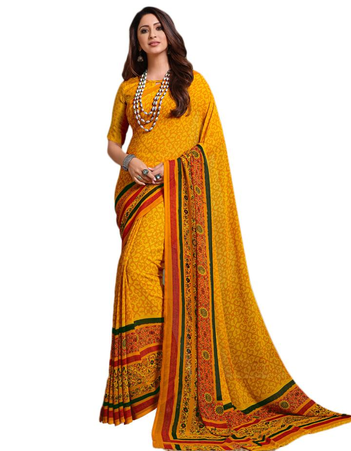 Yellow Georgette Saree With Blouse IW24638