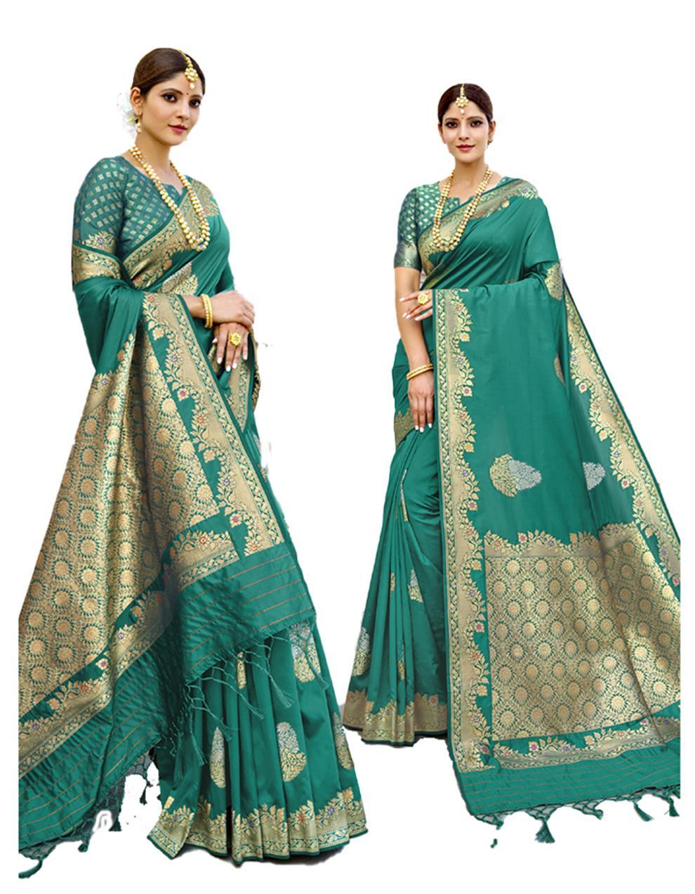 Green Banarasi Silk Saree With Blouse SD24202