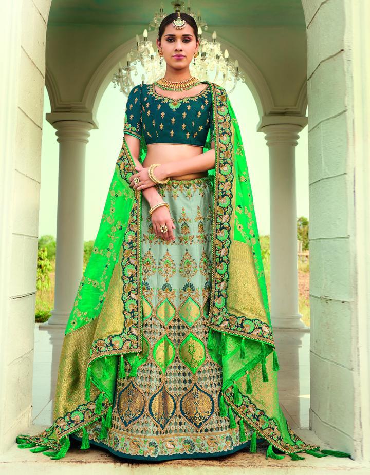 Banarasi Silk Multicolor Semi Stitched Lehenga with Choli And Dupatta LSD2811