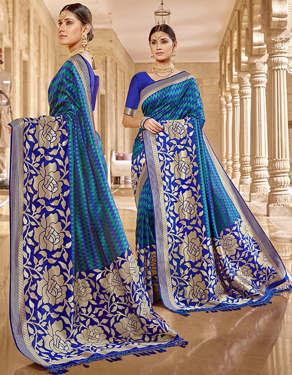 Blue Silk Saree With Blouse SD23789