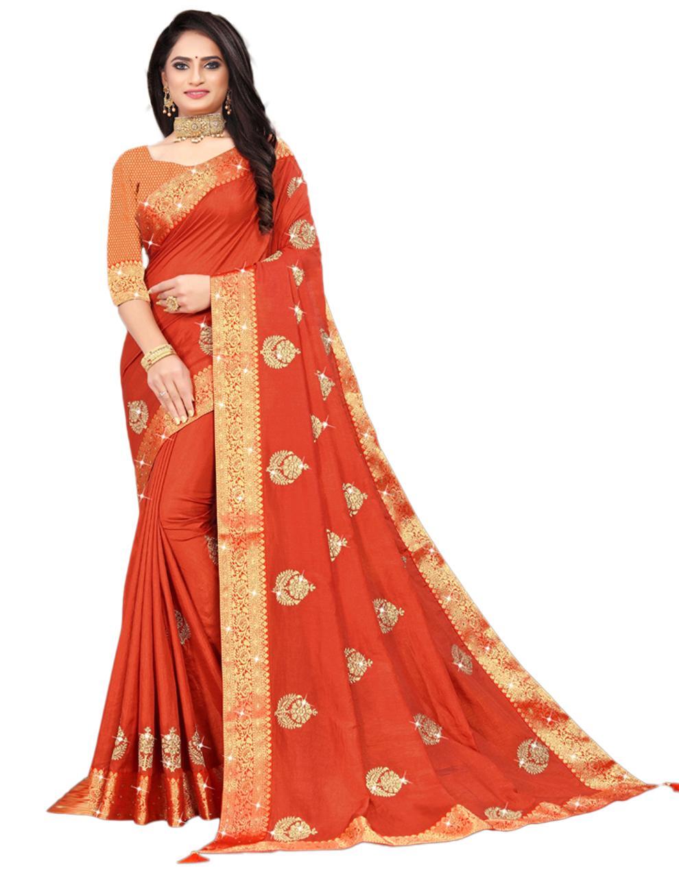 Orange Vichitra silk Saree With Blouse IW24395