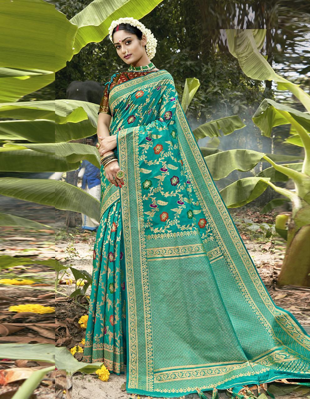 Sea Green Silk Saree With Blouse SD23831