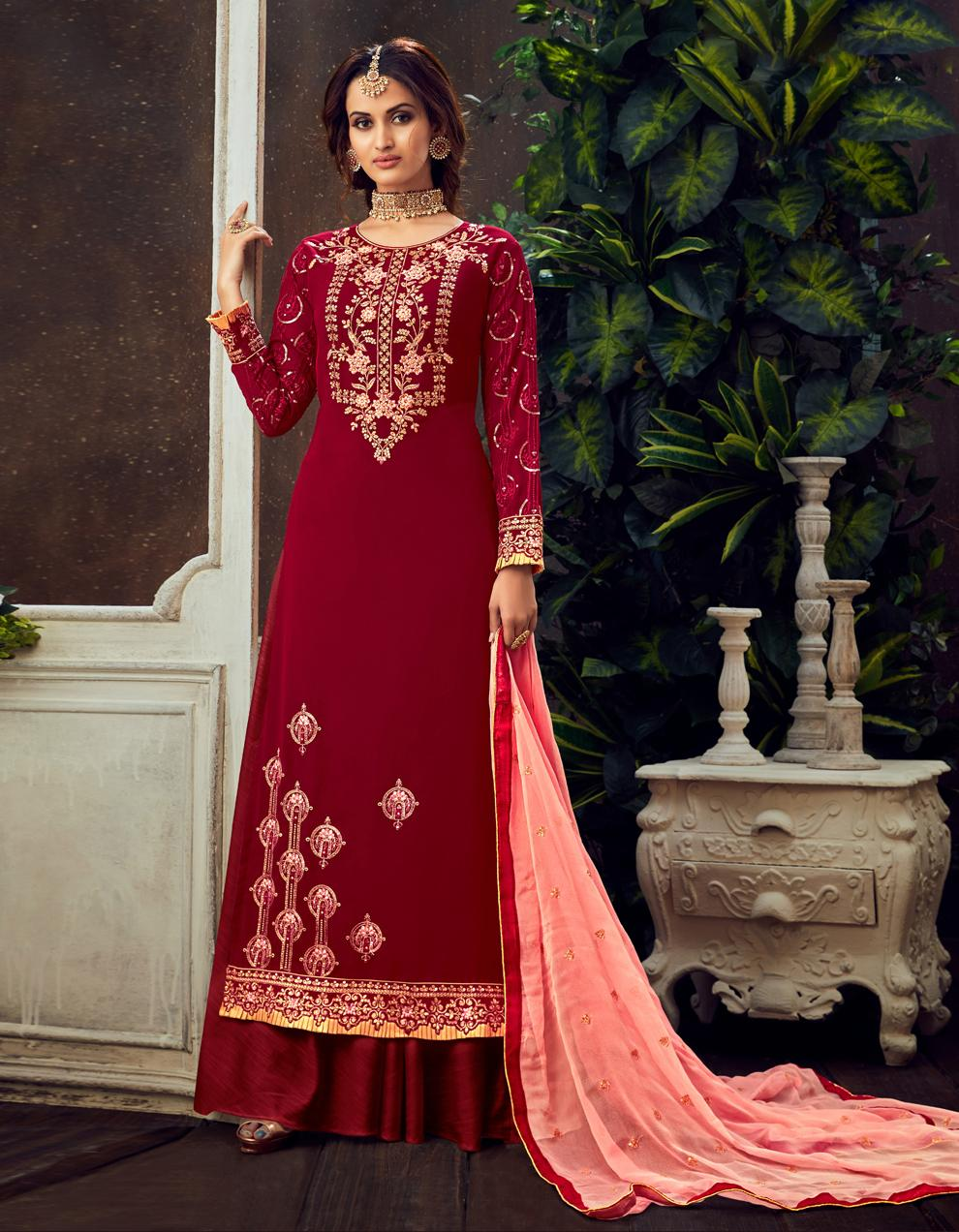 Red Pure Georgette Straight Suit SHL8565