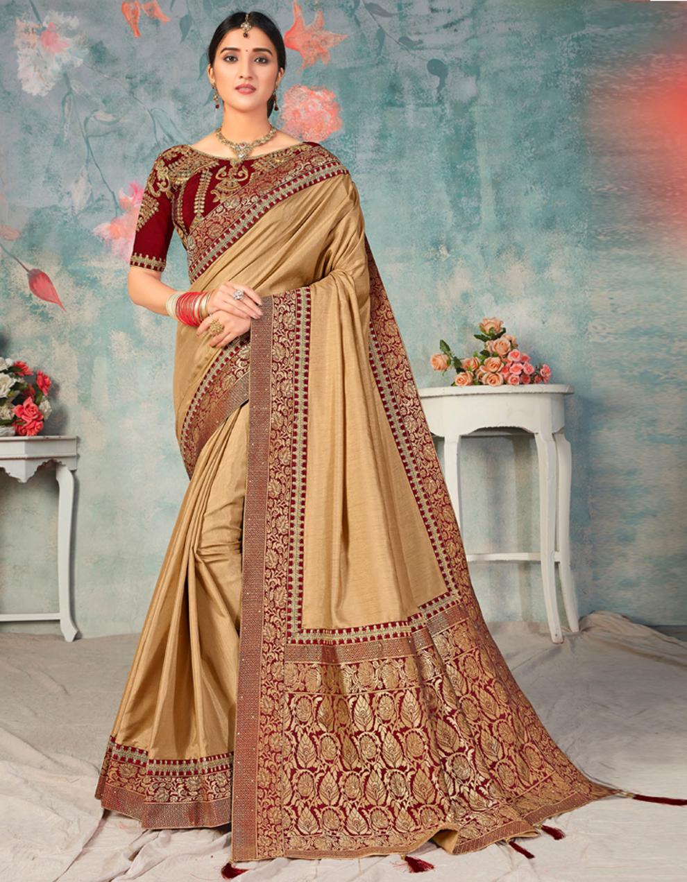 Beige Poly Silk Saree With Blouse IW24467