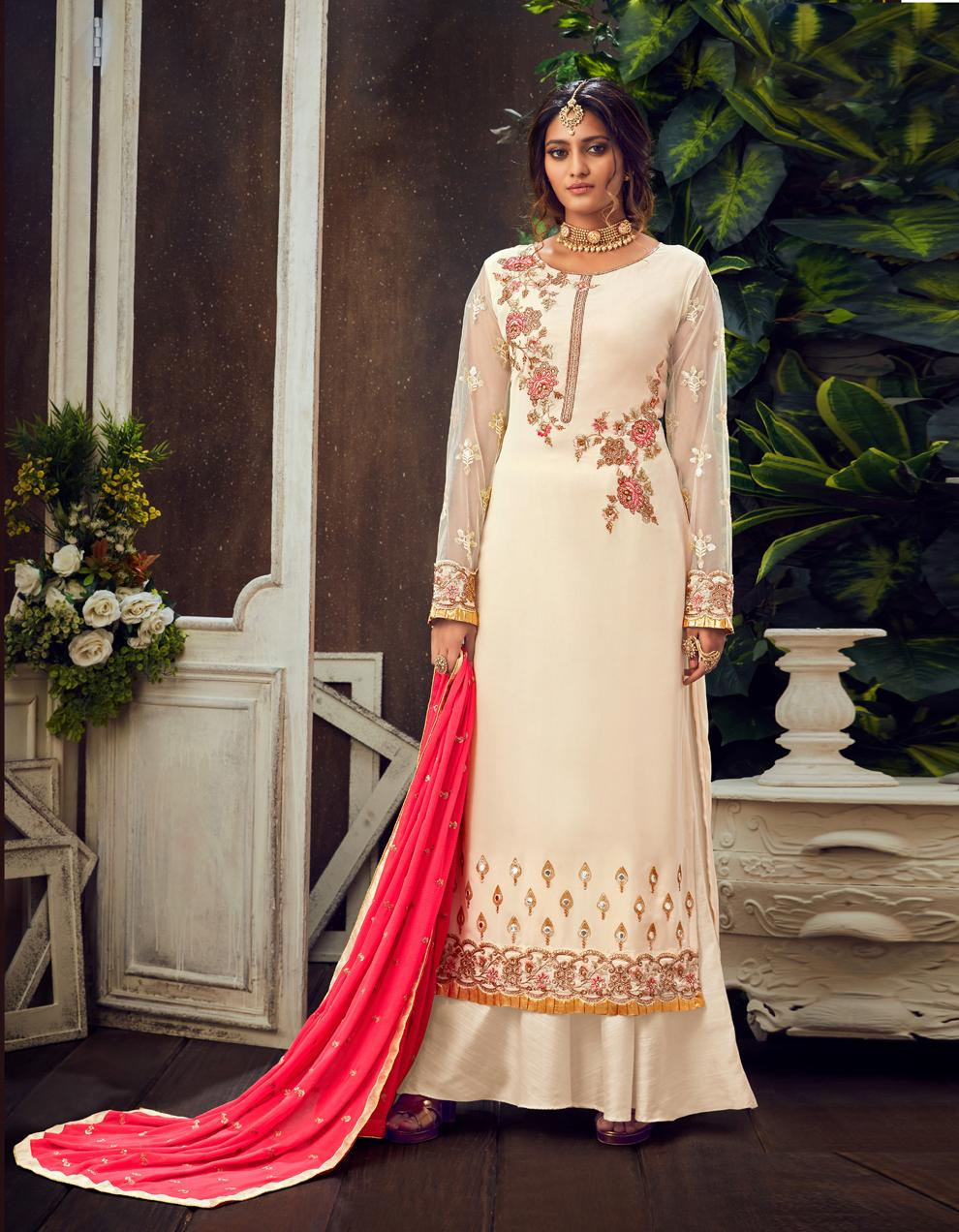 Off White Pure Georgette Straight Suit SHL8562