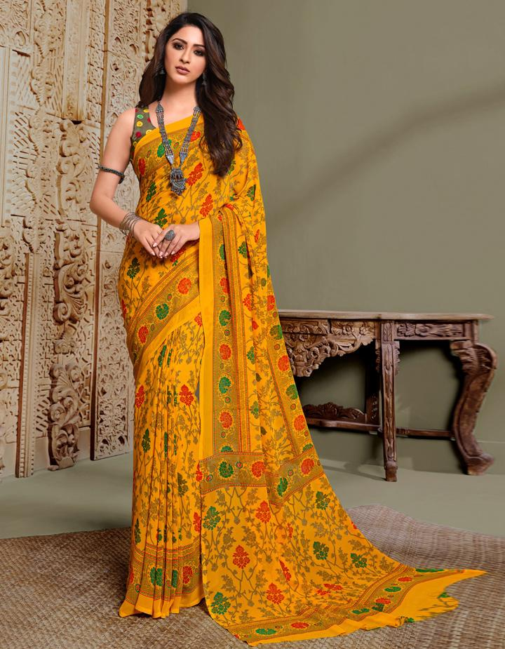 Yellow Georgette Saree With Blouse IW24629