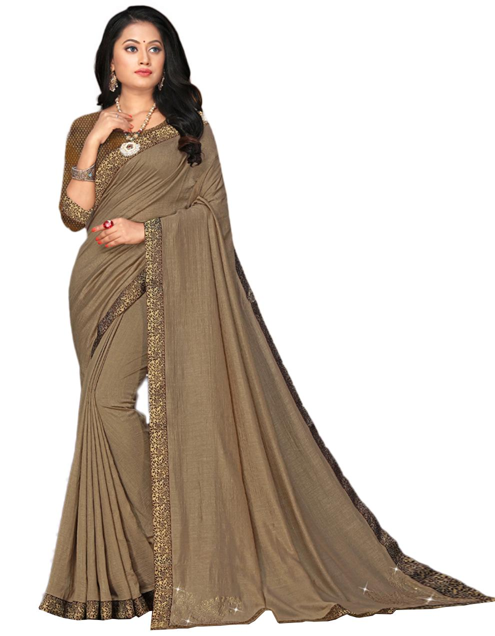 Brown Vichitra silk Saree With Blouse IW24333